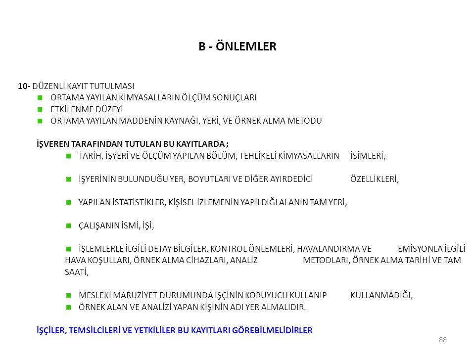 B - ÖNLEMLER 10- DÜZENLİ KAYIT TUTULMASI