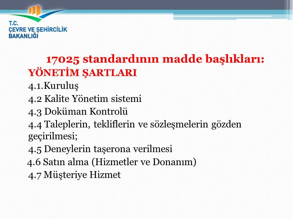 17025 standardının madde başlıkları: