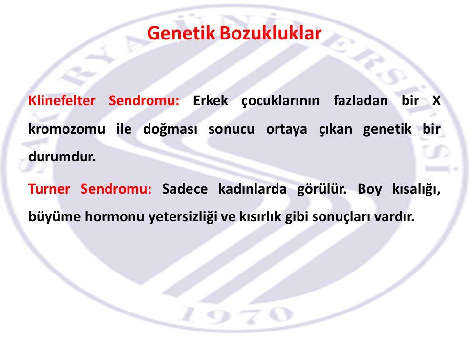 Genetik Bozukluklar Klinefelter Sendromu: Erkek çocuklarının fazladan bir X kromozomu ile doğması sonucu ortaya çıkan genetik bir durumdur.