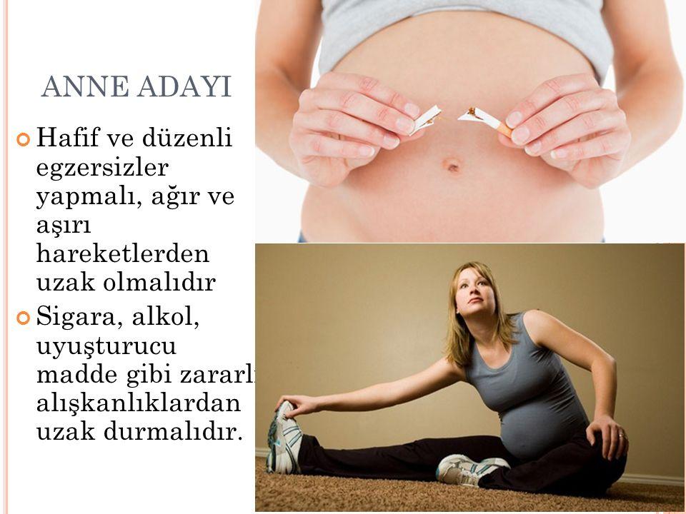 ANNE ADAYI Hafif ve düzenli egzersizler yapmalı, ağır ve aşırı hareketlerden uzak olmalıdır.
