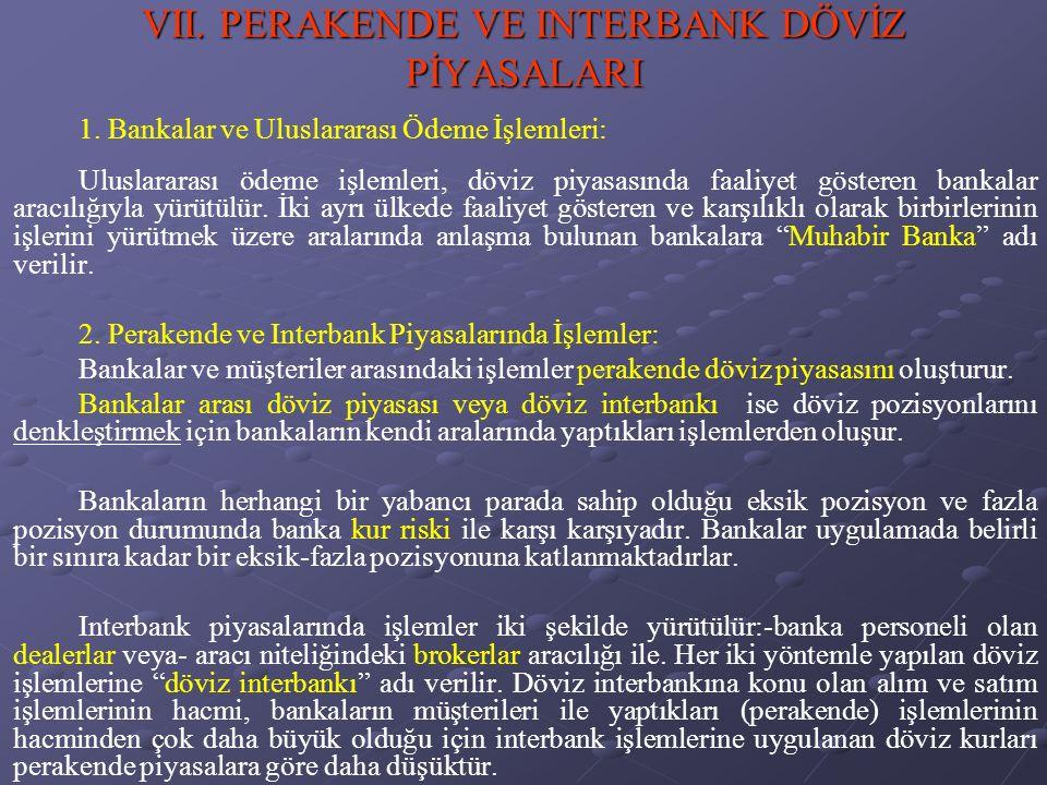 VII. PERAKENDE VE INTERBANK DÖVİZ PİYASALARI