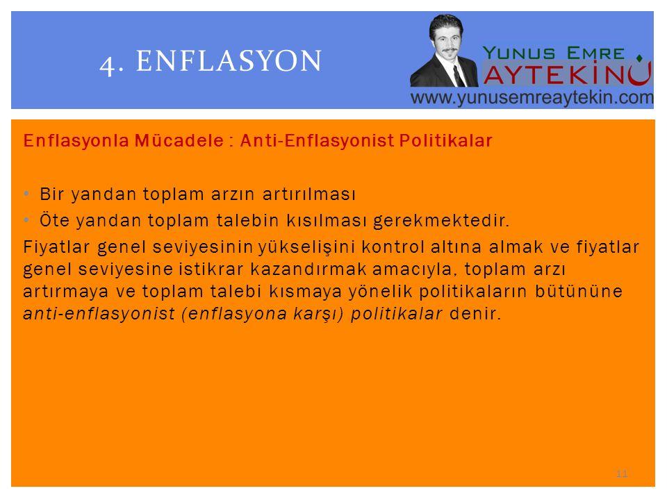 4. ENFLASYON Enflasyonla Mücadele : Anti-Enflasyonist Politikalar