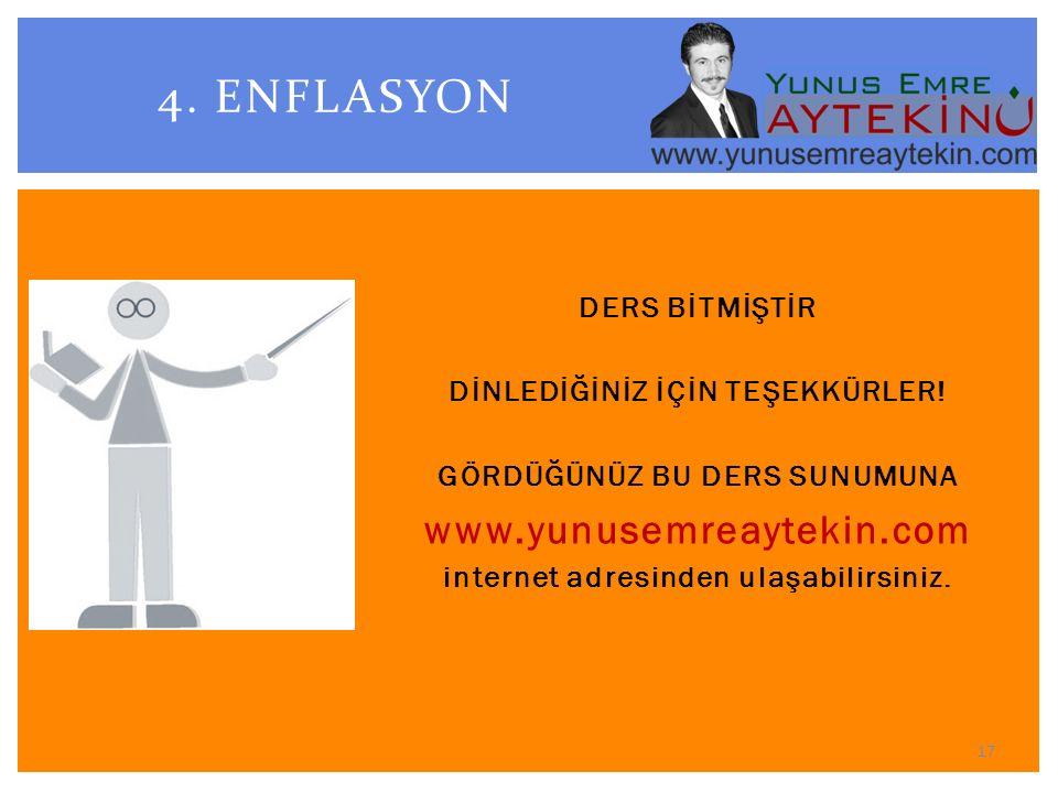 4. ENFLASYON www.yunusemreaytekin.com DERS BİTMİŞTİR