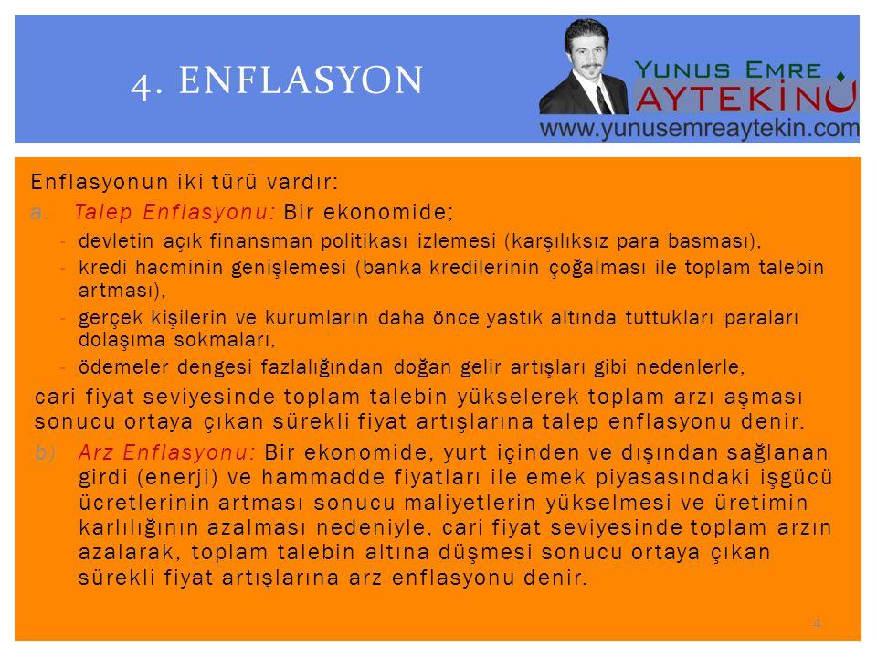 4. ENFLASYON Enflasyonun iki türü vardır: