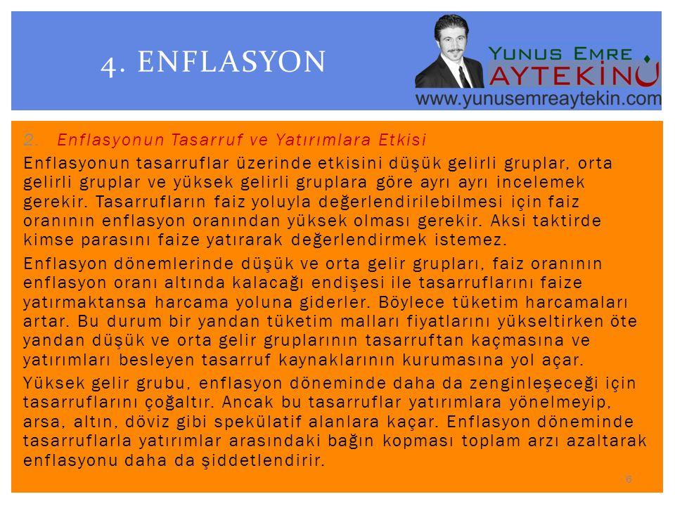 4. ENFLASYON Enflasyonun Tasarruf ve Yatırımlara Etkisi