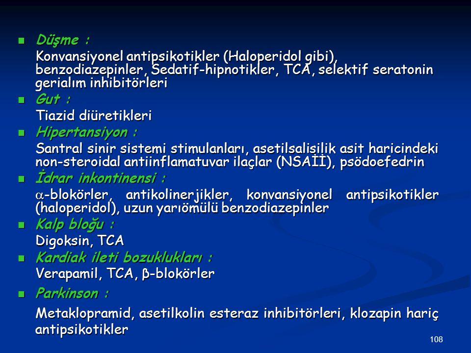 Düşme : Konvansiyonel antipsikotikler (Haloperidol gibi), benzodiazepinler, Sedatif-hipnotikler, TCA, selektif seratonin gerialım inhibitörleri.