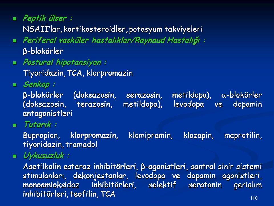 Peptik ülser : NSAİİ'lar, kortikosteroidler, potasyum takviyeleri. Periferal vasküler hastalıklar/Raynaud Hastalığı :