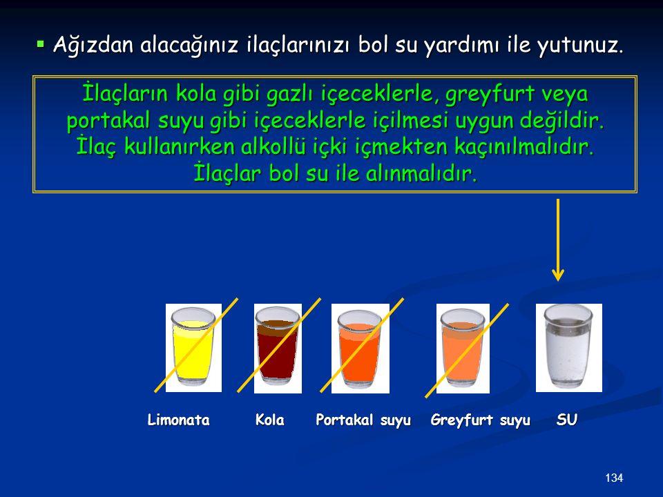 Ağızdan alacağınız ilaçlarınızı bol su yardımı ile yutunuz.