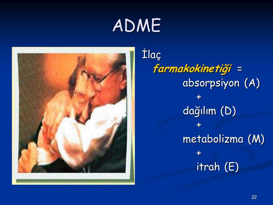 ADME İlaç farmakokinetiği = absorpsiyon (A) + dağılım (D)