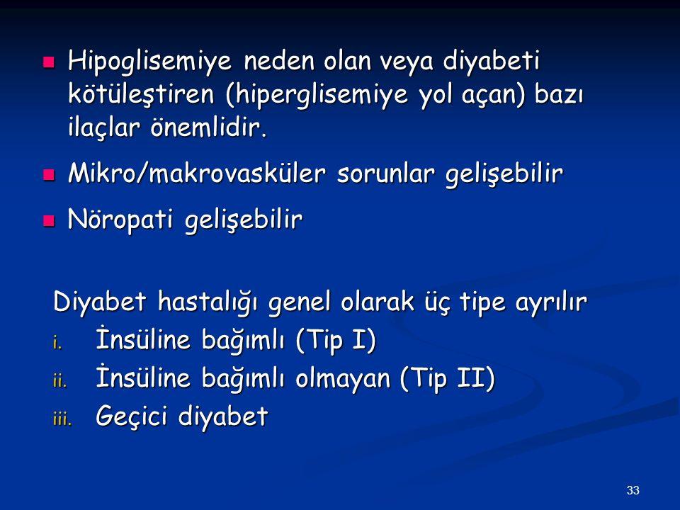 Hipoglisemiye neden olan veya diyabeti kötüleştiren (hiperglisemiye yol açan) bazı ilaçlar önemlidir.