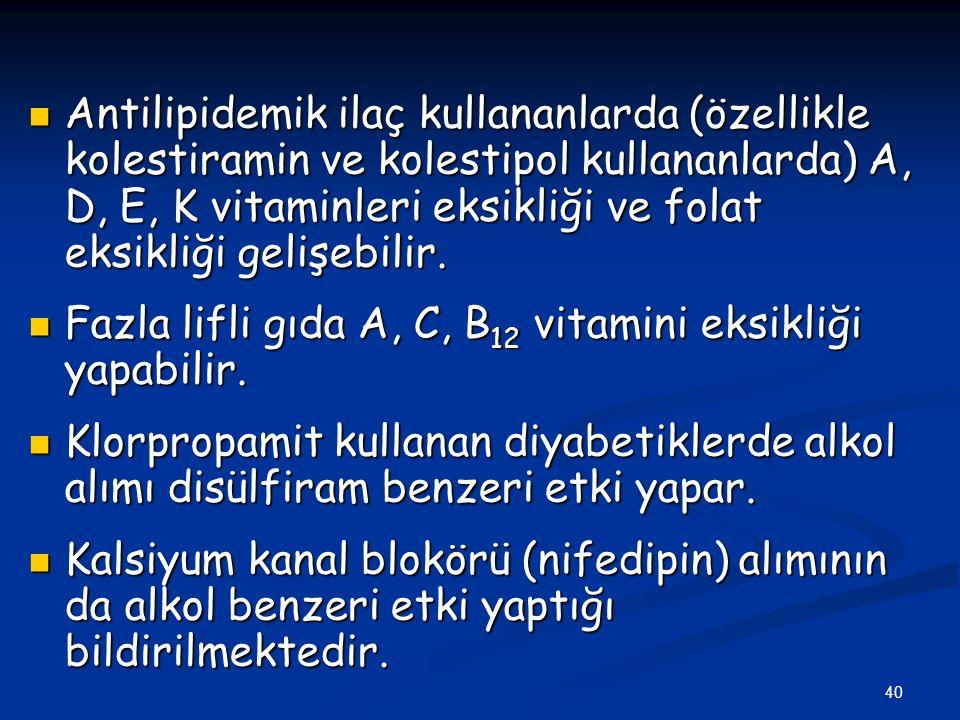 Antilipidemik ilaç kullananlarda (özellikle kolestiramin ve kolestipol kullananlarda) A, D, E, K vitaminleri eksikliği ve folat eksikliği gelişebilir.