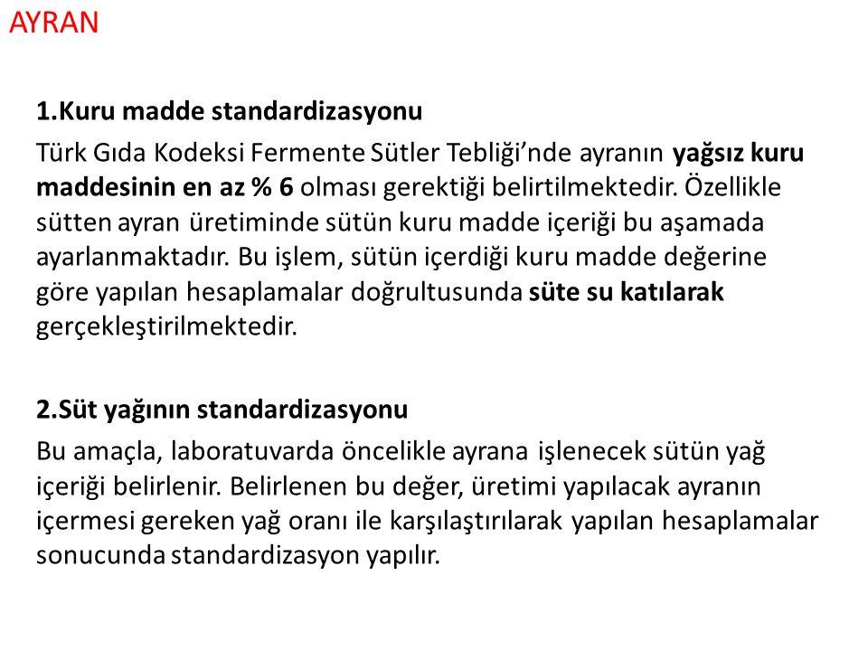 AYRAN 1.Kuru madde standardizasyonu