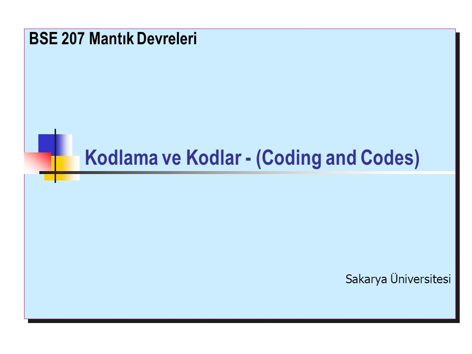 Kodlama ve Kodlar - (Coding and Codes)