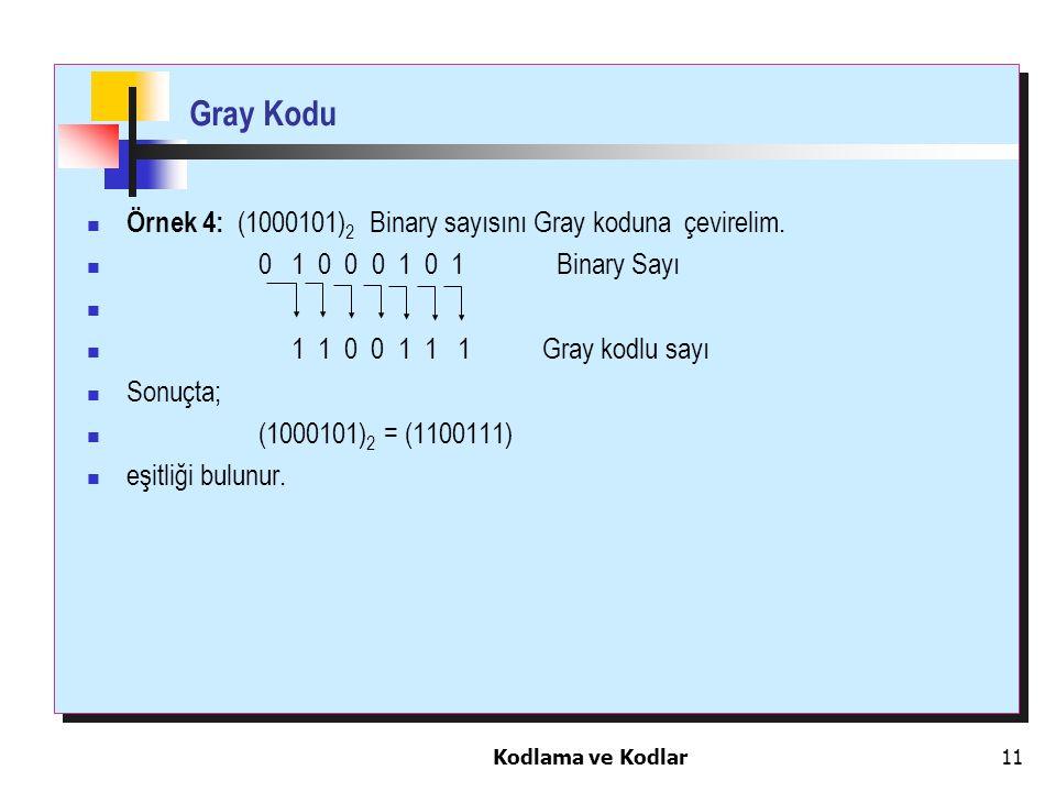 Gray Kodu Örnek 4: (1000101)2 Binary sayısını Gray koduna çevirelim.