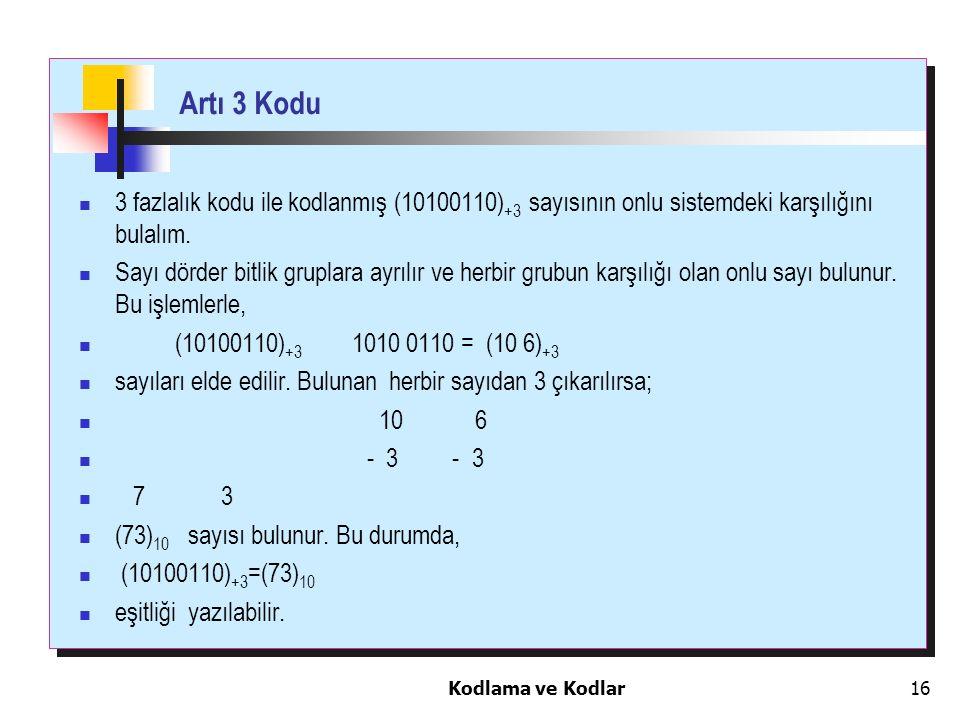 Artı 3 Kodu 3 fazlalık kodu ile kodlanmış (10100110)+3 sayısının onlu sistemdeki karşılığını bulalım.