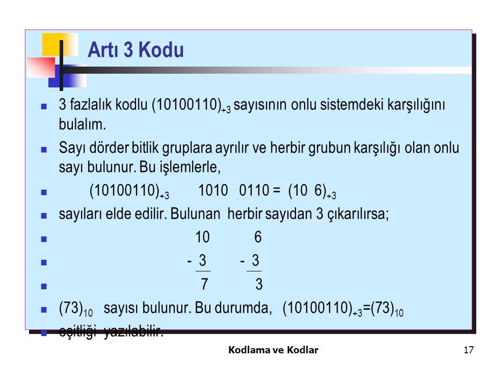 Artı 3 Kodu 3 fazlalık kodlu (10100110)+3 sayısının onlu sistemdeki karşılığını bulalım.