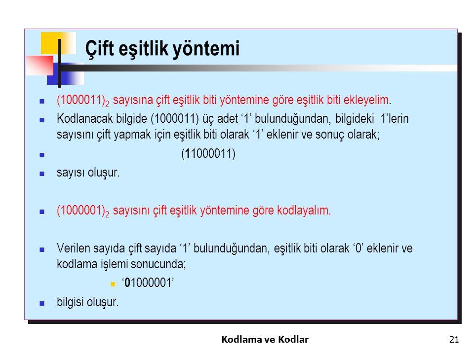 Çift eşitlik yöntemi (1000011)2 sayısına çift eşitlik biti yöntemine göre eşitlik biti ekleyelim.