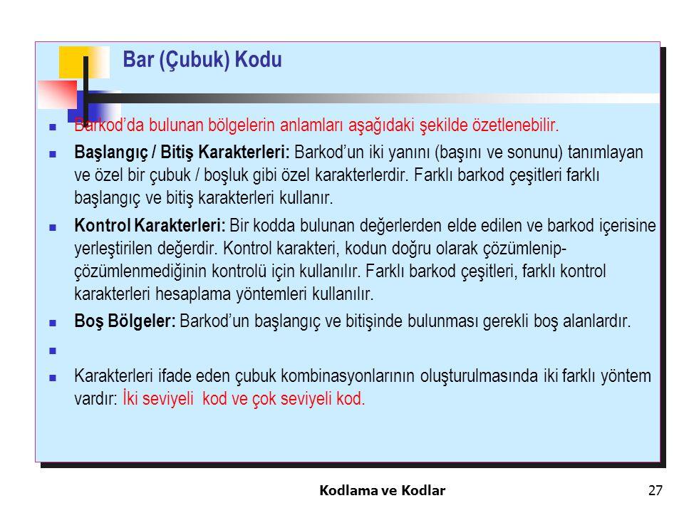 Bar (Çubuk) Kodu Barkod'da bulunan bölgelerin anlamları aşağıdaki şekilde özetlenebilir.