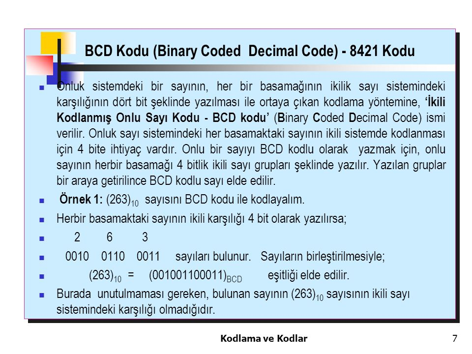 BCD Kodu (Binary Coded Decimal Code) - 8421 Kodu