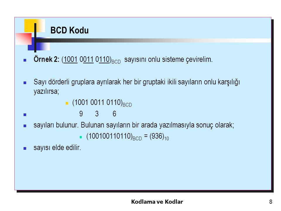 BCD Kodu Örnek 2: (1001 0011 0110)BCD sayısını onlu sisteme çevirelim.