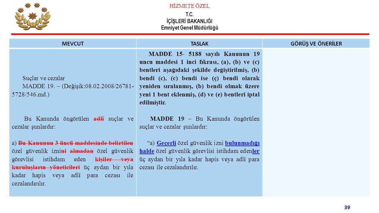 MADDE 19. – (Değişik:08.02.2008/26781-5728/546.md.)