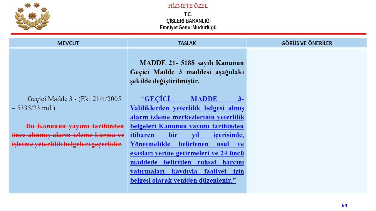 Geçici Madde 3 - (Ek: 21/4/2005 – 5335/23 md.)