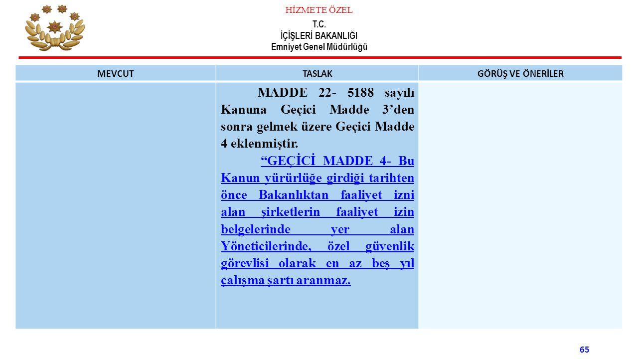 MEVCUT TASLAK. GÖRÜŞ VE ÖNERİLER. MADDE 22- 5188 sayılı Kanuna Geçici Madde 3'den sonra gelmek üzere Geçici Madde 4 eklenmiştir.