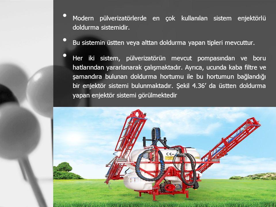 Modern pülverizatörlerde en çok kullanılan sistem enjektörlü doldurma sistemidir.