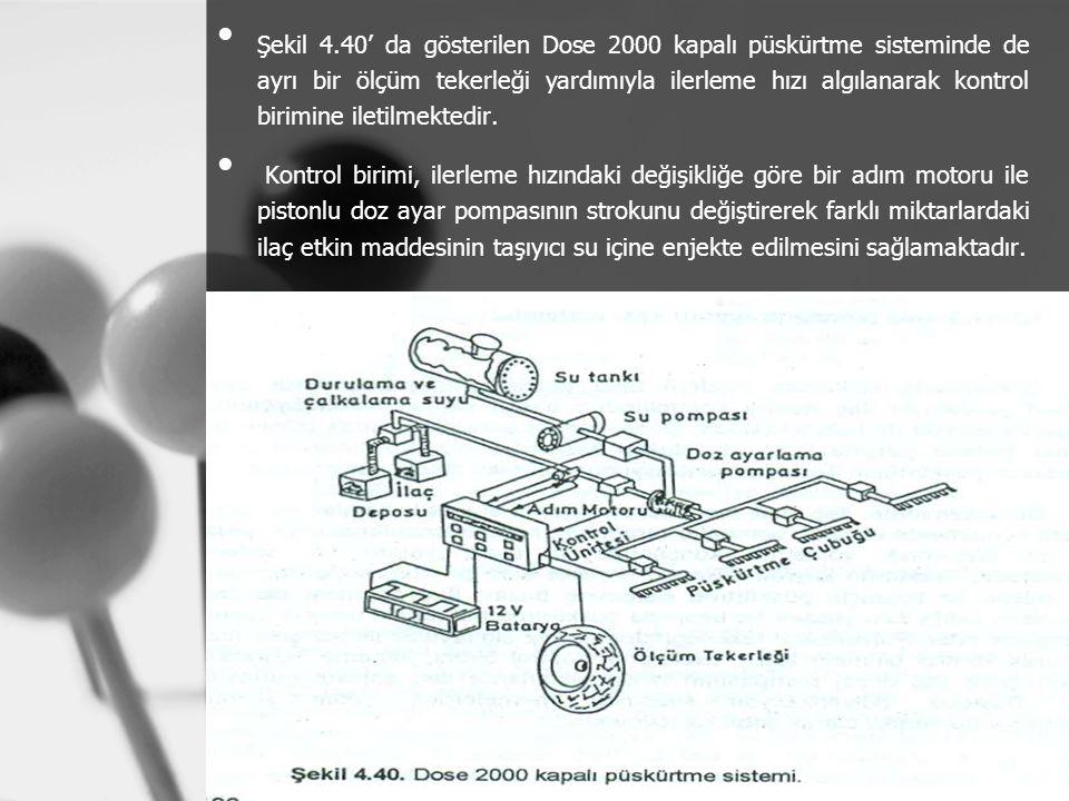 Şekil 4.40' da gösterilen Dose 2000 kapalı püskürtme sisteminde de ayrı bir ölçüm tekerleği yardımıyla ilerleme hızı algılanarak kontrol birimine iletilmektedir.