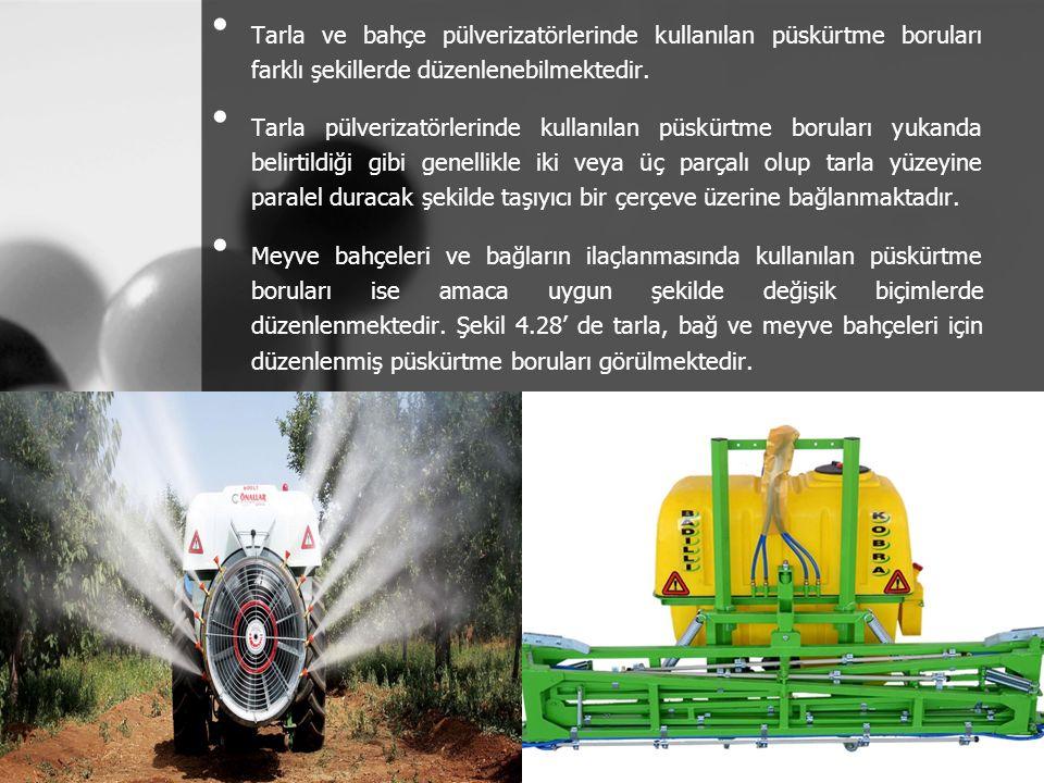 Tarla ve bahçe pülverizatörlerinde kullanılan püskürtme boruları farklı şekillerde düzenlenebilmektedir.