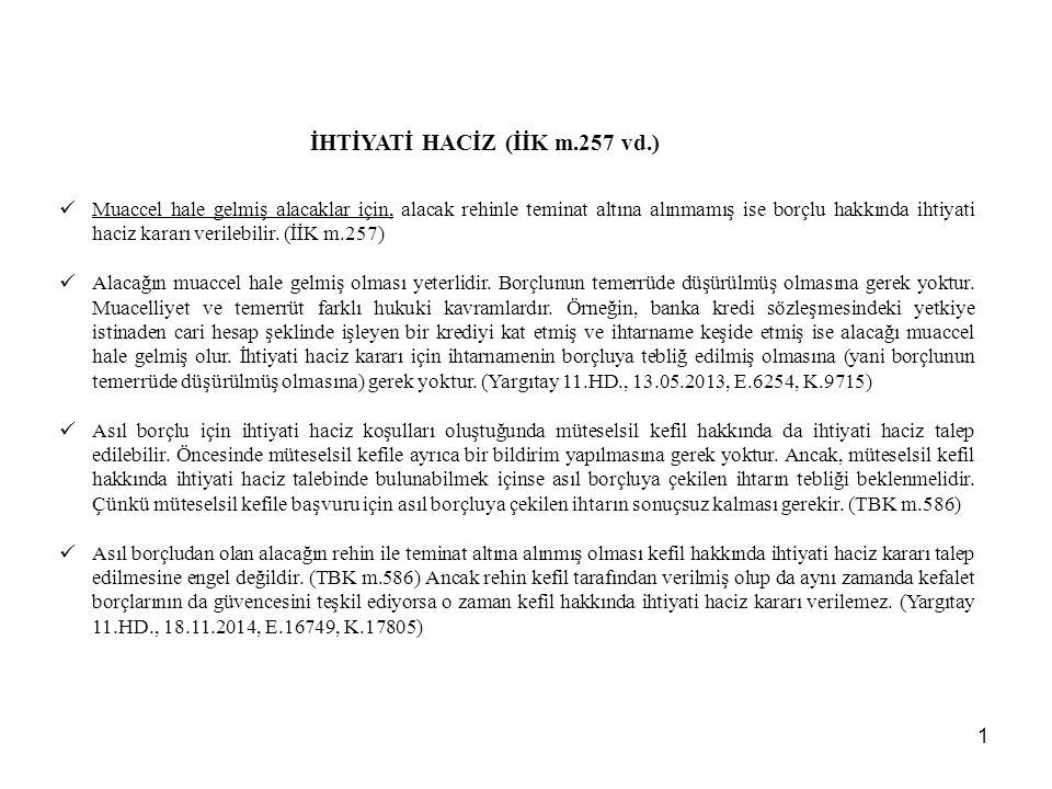 İHTİYATİ HACİZ (İİK m.257 vd.)