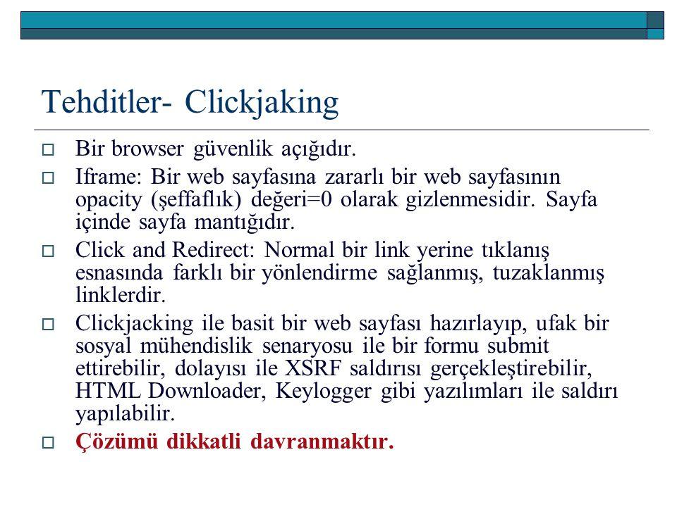 Tehditler- Clickjaking