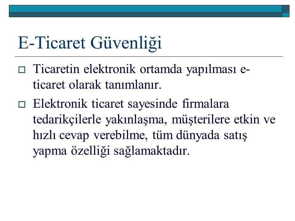 E-Ticaret Güvenliği Ticaretin elektronik ortamda yapılması e-ticaret olarak tanımlanır.
