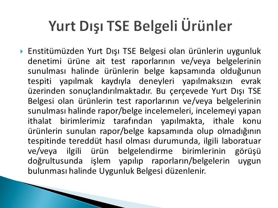 Yurt Dışı TSE Belgeli Ürünler