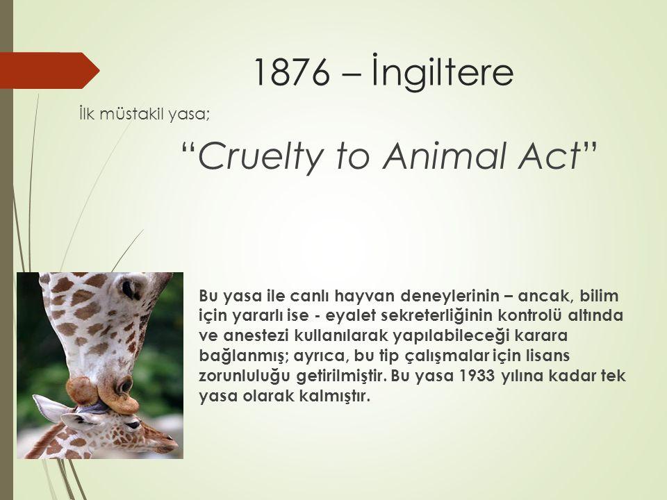 1876 – İngiltere İlk müstakil yasa; Cruelty to Animal Act
