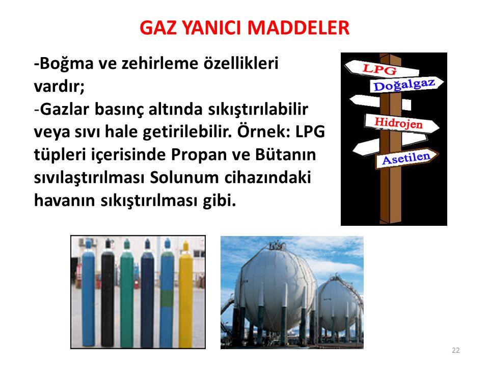 GAZ YANICI MADDELER -Boğma ve zehirleme özellikleri vardır;