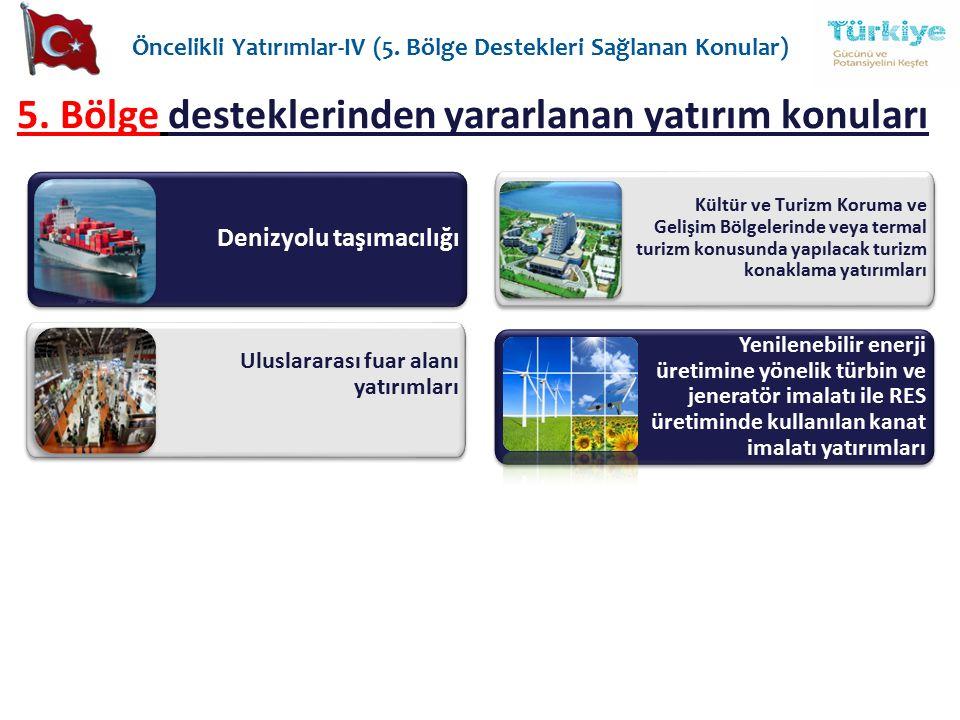 5. Bölge desteklerinden yararlanan yatırım konuları