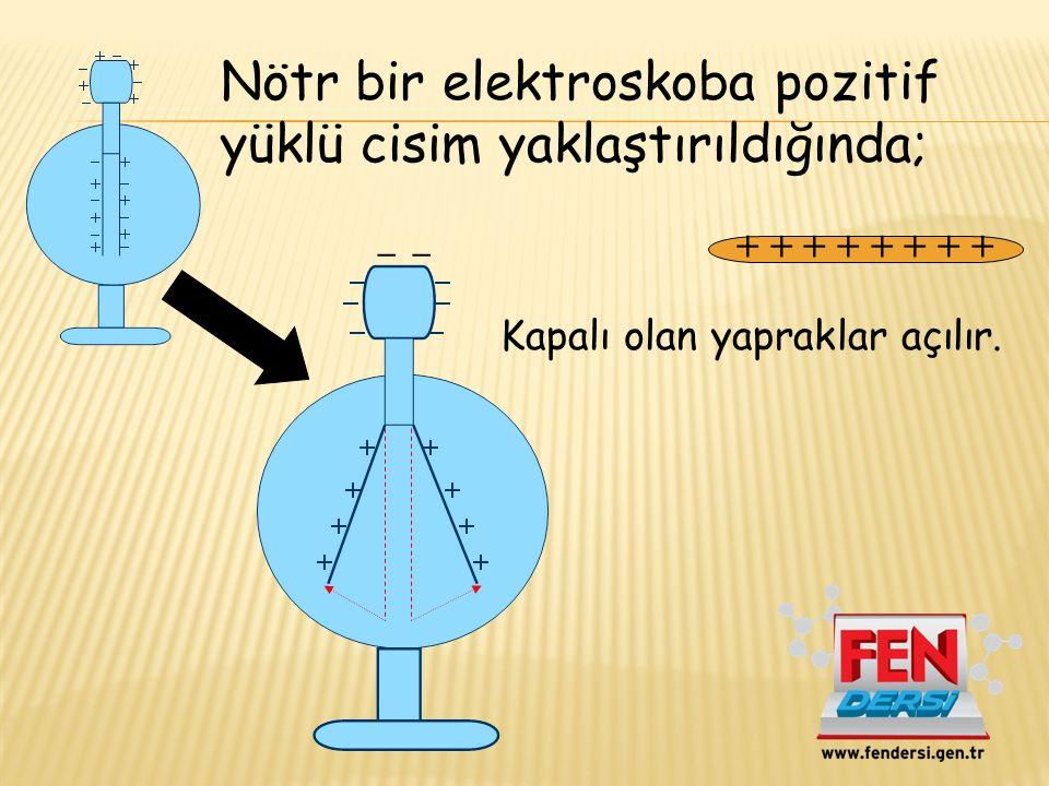Nötr bir elektroskoba pozitif yüklü cisim yaklaştırıldığında;