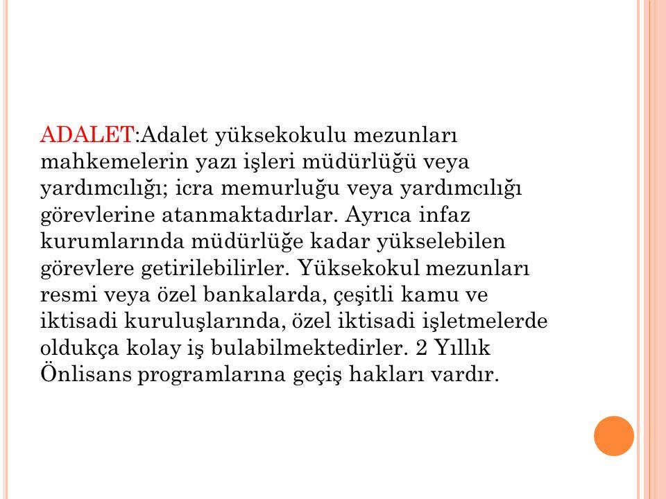 ADALET:Adalet yüksekokulu mezunları mahkemelerin yazı işleri müdürlüğü veya yardımcılığı; icra memurluğu veya yardımcılığı görevlerine atanmaktadırlar.