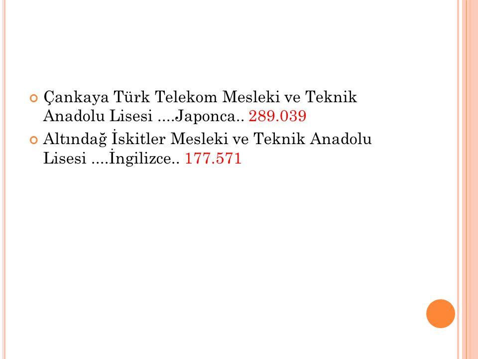 Çankaya Türk Telekom Mesleki ve Teknik Anadolu Lisesi. Japonca. 289