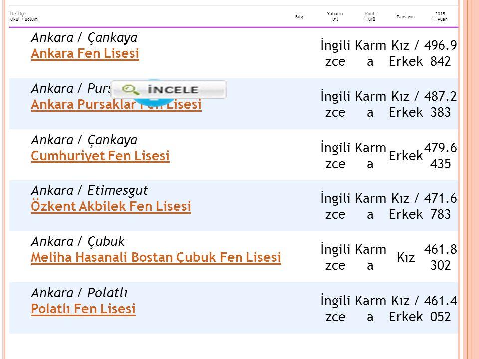 Ankara / Çankaya Ankara Fen Lisesi İngilizce Karma Kız / Erkek