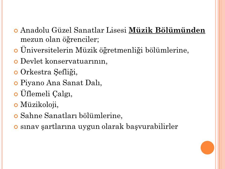 Anadolu Güzel Sanatlar Lisesi Müzik Bölümünden mezun olan öğrenciler;