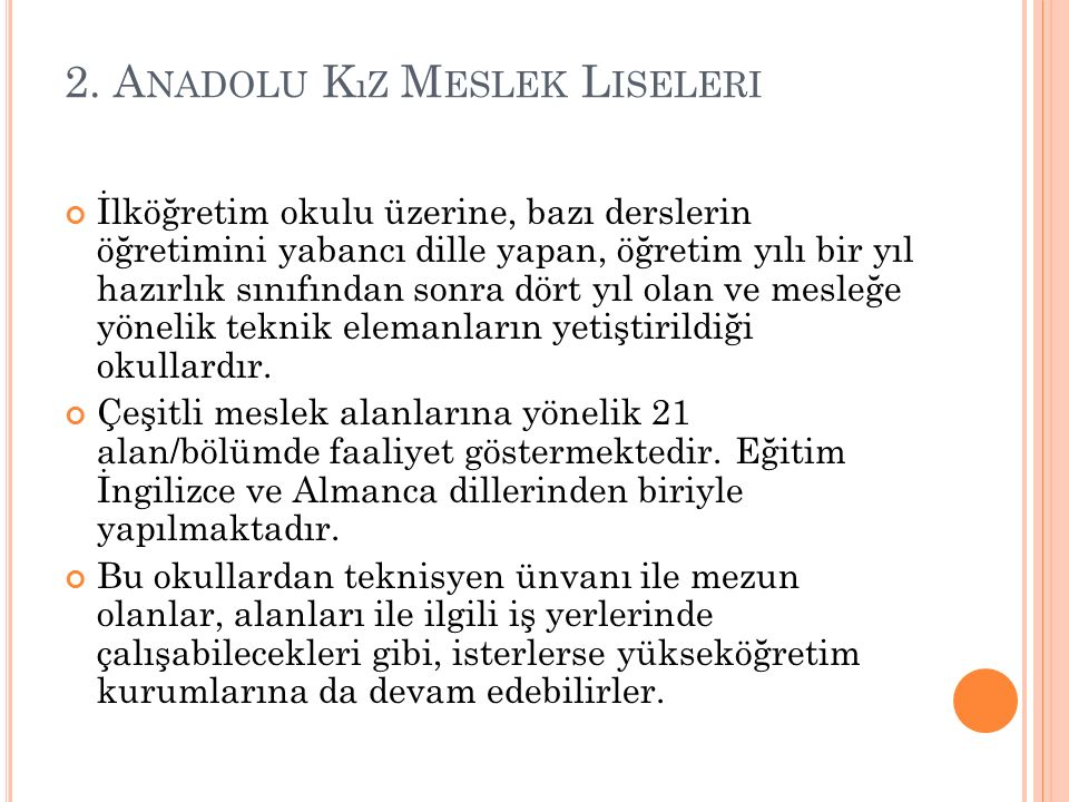 2. Anadolu Kız Meslek Liseleri