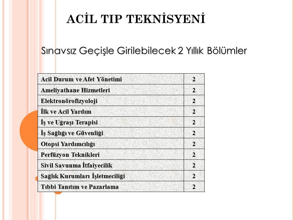 ACİL TIP TEKNİSYENİ Sınavsız Geçişle Girilebilecek 2 Yıllık Bölümler