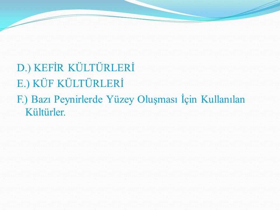 D. ) KEFİR KÜLTÜRLERİ E. ) KÜF KÜLTÜRLERİ F