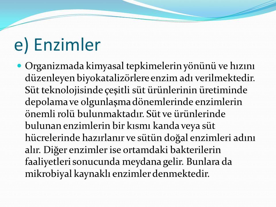 e) Enzimler