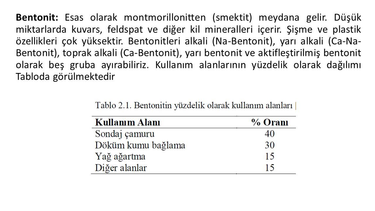 Bentonit: Esas olarak montmorillonitten (smektit) meydana gelir