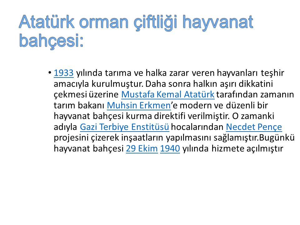 Atatürk orman çiftliği hayvanat bahçesi: