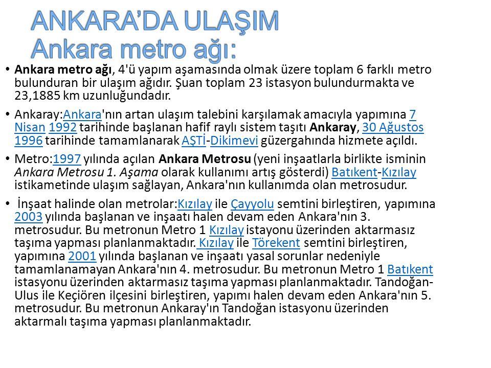 ANKARA'DA ULAŞIM Ankara metro ağı: