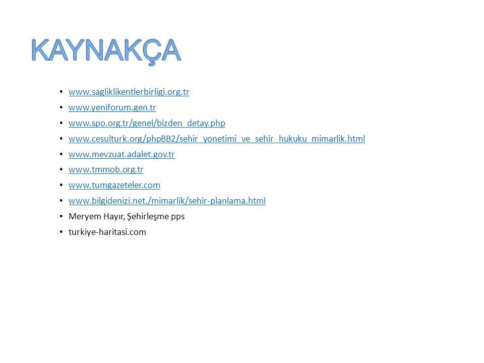 KAYNAKÇA www.sagliklikentlerbirligi.org.tr www.yeniforum.gen.tr
